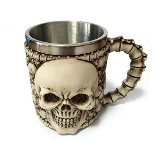 DingSheng 3D-Kaffeetassen mit Totenkopf-Motiv, toll für Kaffee, Tee, Flasche, Becher, Trinkbecher, Edelstahl Kunstharz, 004