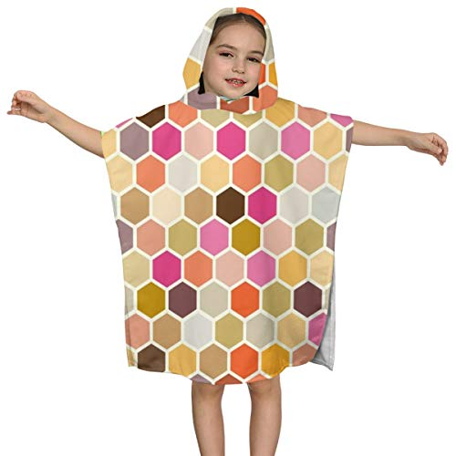BigHappyShop Baby's Cute Hooded Bath Beach Towel AB Fall Autumn Hexagon Magenta Gold Plum Orange Gray Taupe Spots Dots Ultra Soft Quick Drying Super Soft Single Ply 100% Organic Cotton