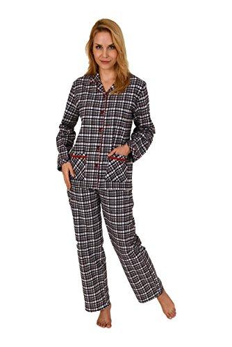 Schwarz Weiß Karo Check Flanell (Normann Copenhagen Damen Flanell Pyjama Langarm Karodesign - 271 201 95 002, Größe:44/46;Farbe:Marine)