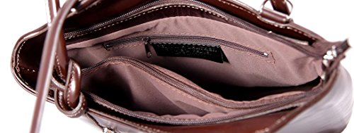 CTM Bag Frau Hobo, 28x30x9cm, echtes Leder 100% Made in Italy Dunkelbraun