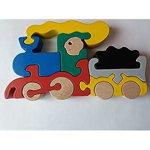 Holz puzzle Zug handgemachte Dampfzug Maschine Spielzeug Nutzfahrzeug Geschenk für Kinder aus Holz Auto Träger…