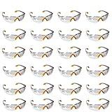 Occhiali Protettivi da Lavoro - 24 Occhiali Antinfortunistica Dpi Trasparenti - Occhiali da Laboratorio Chimico con Lenti in Plastica, Nasello ed Aste in Gomma Antiscivolo - Vestibilità Confortevole