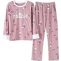 DUKUNKUN Cartoon Ruffles Print Pyjama Set Cotton Long Sleeve Women Lounge Ropa De Dormir-XL