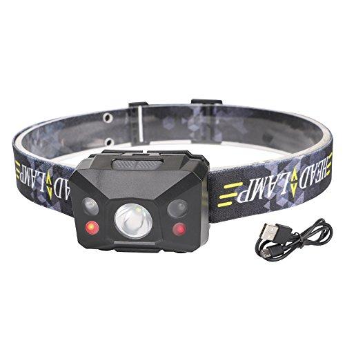 Preisvergleich Produktbild Linkax USB Wiederaufladbare LED Stirnlampe LED Kopflampe Mit Induktionsmodi 3 Lichtmodi zu wahlen LED Stirnlampen LED Kopflampen Kopfleuchten Perfekt fürs Camping Outdoor und Sport inklusive USB Kabel