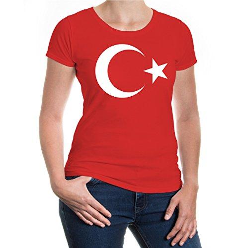 buXsbaum Damen Girlie Kurzarm T-Shirt Bedruckt Turkey Flag Full Size | Türkei Flagge Ländershirt | XS Red-White Rot