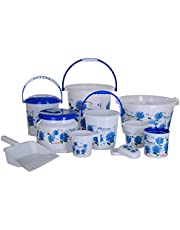Aarohi13 Modwell Plastic Bath Set (Blue) -10 Pieces