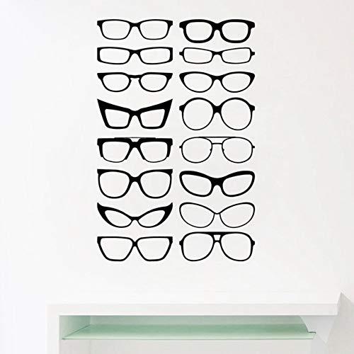 LovelyHomeWJ Brillen Specs Rahmen Vinyl Wandaufkleber Brillen Rahmen Kunst Decals Optische Shop Optiker Büro Fenster Tür Dekor 86x56 cm