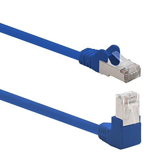 1aTTack.de 366111 Cat.6 Netzwerkkabel Winkel 90 Grad 0,25m - blau - 1 Stück - Cat6 Patchkabel (SFTP PIMF) 1000Mbit/s Rj 45 Stecker - 1 x 0,25m Meter blau -