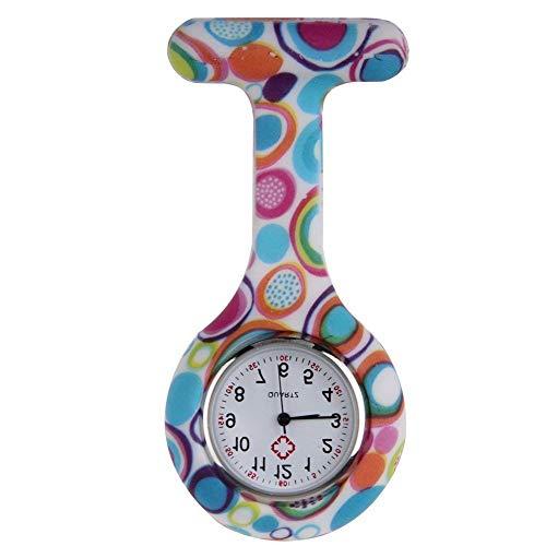Schwester Kostüm Kleine Muster - Boolavard TM Multi Farben Krankenschwester Brosche Fob Tunika Uhr Silikonhülle Krankenschwester Uhren (Blasen)