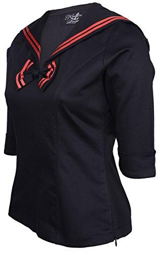 Küstenluder MALENA Sailor Matrosen Collar Vintage BLUSE - Blk Rockabilly -