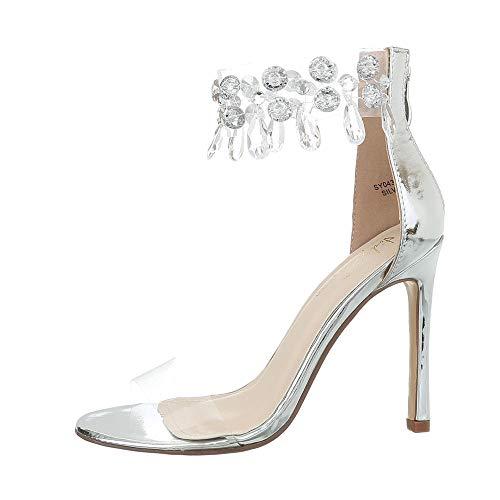 Ital-Design Damenschuhe Sandalen & Sandaletten High Heel Sandaletten Synthetik Silber Gr. 36