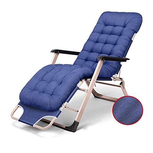 CJC Soleil Fainéant Chaise Inclinable Lit Inclinable Épais Coussin Pliant Jardin Rembourré De Plein Air (Couleur : Bleu)