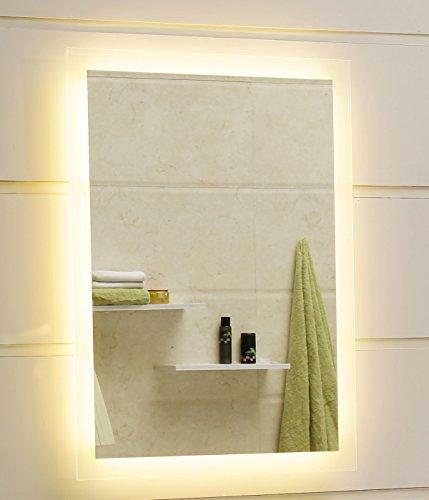 Miroir de salle de bain LED GS084N - Avec éclairage par surfaces lumineuses satinées (40 x 60 cm, blanc chaud) )