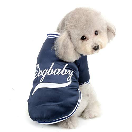 Baseball Hunde Kostüm - SELMAI Hunde-Wintermantel mit Fleece-Futter Baseball-Uniform Jacke Freizeit-Kostüm für kleine Hunde Katzen Winddicht für Mädchen Jungen Chihuahua Bekleidung Blau L