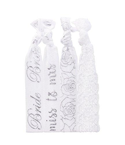 SIX - 4er Set Damen Haargummis, Haarbänder, Braut, Brautjungfer, Hochzeit, Junggesellenabschied, weiß (485-276)