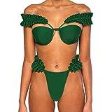 Dorical Damen Grün Bikini Set Rüschen Design Push Up Sexy Badeanzug Beachwear Bademode Badebekleidung/Strandmode Strandkleidung Schwimmanzug Badeanzüge(Grün,M)