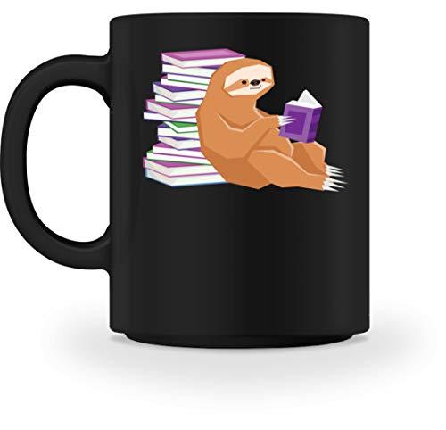 Piasana Schlaues Faultier das ein Buch liest - Für Lehrer Student Bücherwurm oder Leseratte - Tasse -M-Schwarz -