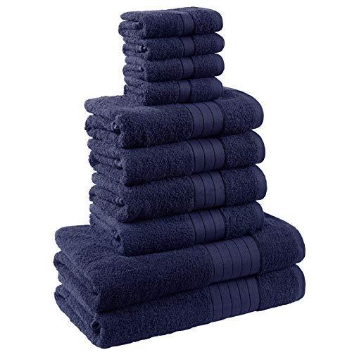 Dreamscene Bale, Navy, 10-teiliges Badezimmer Handtuch Set (Sets Blaue Handtücher-badezimmer)