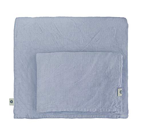 Linen & Cotton Stonewashed Leinen Bettwäsche, Bettwäsche Set Caelum, 100{01978d44eaaeda72b53febedc0101ebe176f52b2e933d5657d2c75944b7a330c} Leinen - 140 x 200cm (Single), Blau