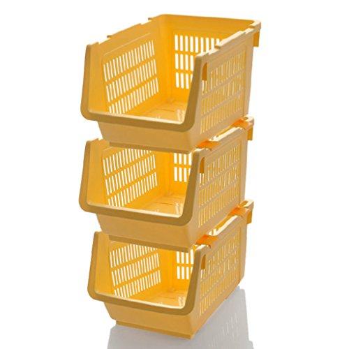 BBYE Panier De Finition De Légumes De Fruits / Rack De Stockage De Cuisine / Paniers De Stockage En Plastique / Rack De Stockage Multifonctionnel / Trois Packs
