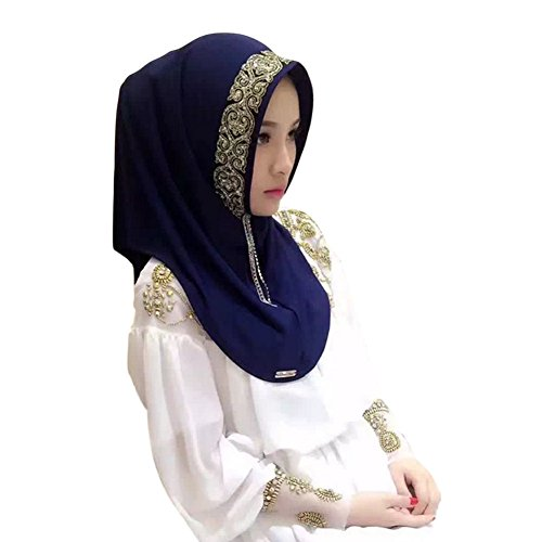Haodasi Femmes Muslim Écharpe Point perceuse désign MultiCouleur Models Couvercle de tête Châle Hijab Navy blue
