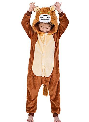 Amenxi Kinder Unisex Mädchen Flanell Jungen Schlafanzug Cartoon Fleece Loose Casual Einhorn Jumpsuit Overall Cosplay Tierkostüme (Löwe, Größe:130-142 cm)