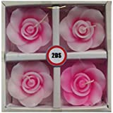 2DS Rose Flower Shape Handmade Floating Candles For Home Decoration Diwali & Best Puja Ambience, Without Fragrance Set Of 4 (Pink)