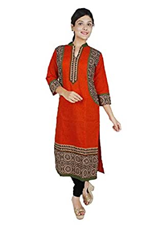 Divena Women's Cotton Straight Kurta (Small, Orange, DBK0004-S)