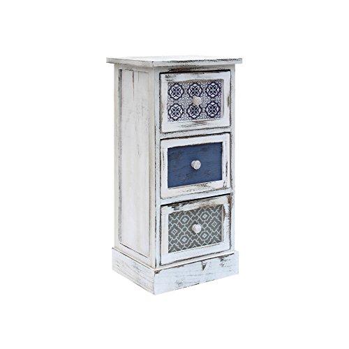 Rebecca mobili comodino salvaspazio, cassettiera 3 cassetti, legno, bianco grigio blu, design vintage, per arredo casa camera da letto salotto - misure: 62 x 29 x 25 cm (hxlxp) - art. re6081