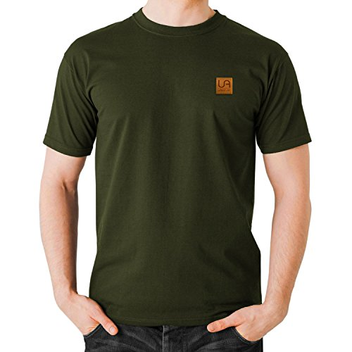 urban air StyleFit | T-Shirt Basic | Herren | Sport und Freizeit | 95% Baumwolle, Leder-Patch, Kurzarm | Weiß, Schwarz, oder Hell/Dunkel Grau | S, M, L, XL (L, O-Neck Olive) (Baumwolle Vintage-sport-shirt)