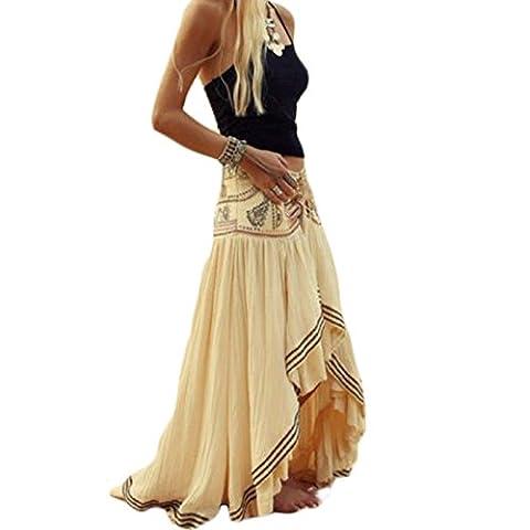 Femmes Rétro Imprimée Style Ethnique lâche Casuel Irreguliere Jupes tenue de plage Plage Robe (S)