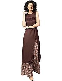 [Sponsored]Jaipur Kurti Women's A-Line Rayon Cotton Sleeveless Side Slit Kurta With Palazzo
