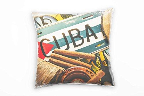 Paul Sinus Art Urban, Kuba, Zigarren, Reisen, Braun, Blau, Rot Deko Kissen 40x40cm für Couch Sofa...