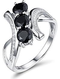 Round Diamond & Black and White Gemstone Cubic Zirconin Fashion Band Ring 7 by Aurora Tears