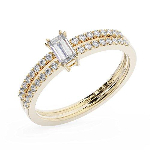 finediamondsrus Damen - Gold 18 Karat (750) 18 Karat (750) Gelbgold Baguette & Round Feines Weiß +/Top Wesselton (F) Diamant