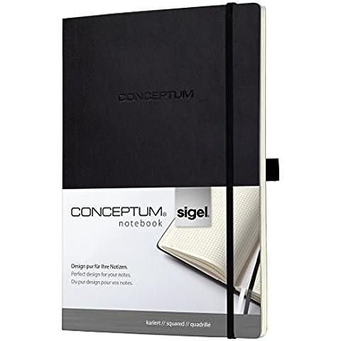 Sigel CO211 - Cuaderno (tapa blanda, A4, cuadriculado), color negro