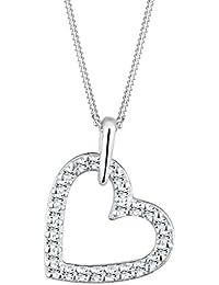 Elli Damen Schmuck Halskette Kette mit Anhänger Herz Liebe Freundschaft Liebesbeweis Silber 925 Swarovski Kristalle Länge 45 cm