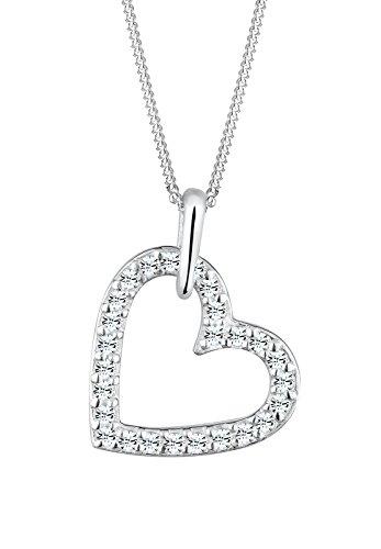 Elli Damen Schmuck Halskette Kette mit Anhänger Herz Liebe Freundschaft Liebesbeweis Silber 925 Swarovski® Kristalle Länge 45 cm