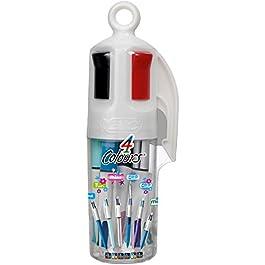 BIC 4 Colours Penne a Sfera a Scatto Assortite Punta Media (1,00 mm) – Barattolo da 6