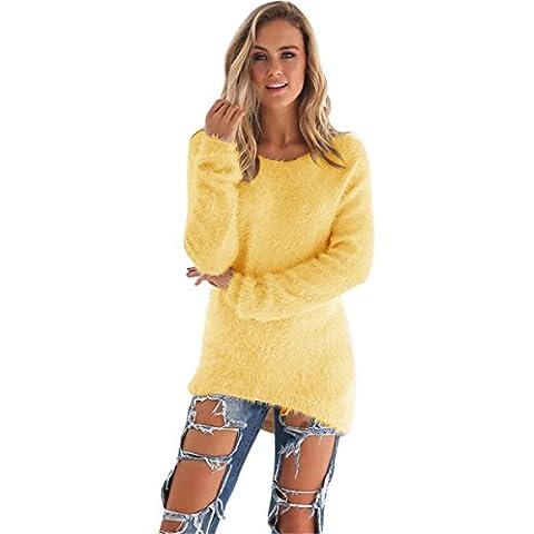 ZARU Mujeres ocasionales de la manga larga de la blusa de los puentes suéteres color sólido