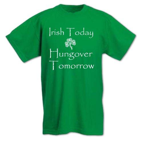 Herren St Patricks Day Heute Ire, Morgen Kater T-Shirt Größe L Grün