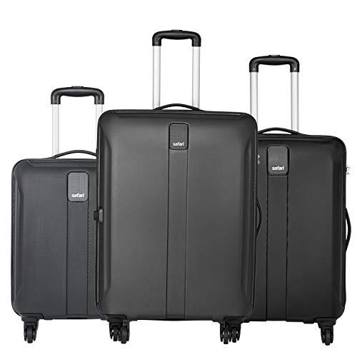 Safari Thorium Sharp Anti-Scratch Combo Set of 3 Black Small, Medium & Large Check-in 4 Wheel Hard Suitcase