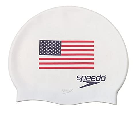 Speedo Silicone 'Flag' Swim Cap, White, One Size