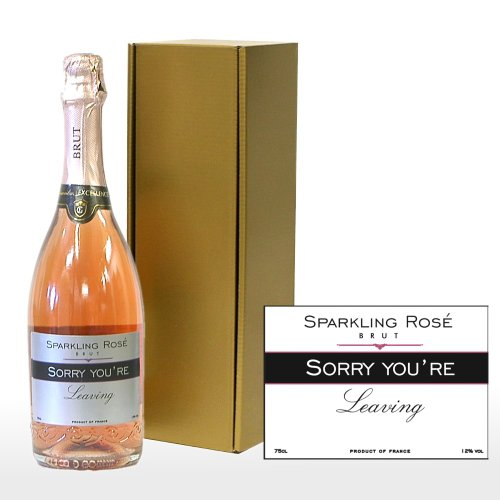 PERSONALISED 'Sorry You're Leaving' Sparkling Rose in a Gift Box - 750ml Fine Sparkling Rose Wine in a Gold Gift Box