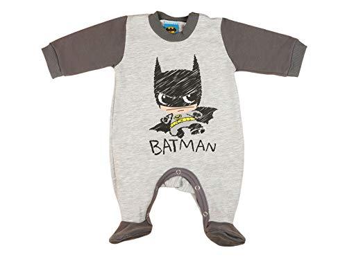 Batman Baby Strampler Pyjama Schlafanzug in Grösse 56 62 68 74 Baumwolle dick gefüttert Jungen Langarm mit Füsschen ideales Geschenk für Neugeborene Spiel-Anzug 3 6 9 Monaten Farbe Grau, Größe 74