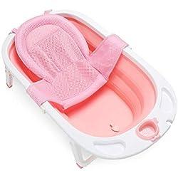 Fascol Bañera Plegable para Bebés 0-36 Meses, Baño Bebe con Red de Seguridad, Longitud de La Piscina para Bebés 82 cm (Rosa)