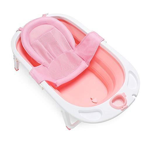 Fascol vaschetta bagnetto pieghevole, bagnetto per bambino 0-36 mesi vaschetta bagnetto per neonati con supporto sedile e tappo di scarico, rosa