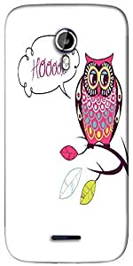 Snoogg cute vector owl hoooot card Designer Protective Back Case Cover For Micromax A117