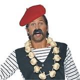 Erwachsene 'Around the World' Herren Kostüm Franzose Schnurrbart schwarz 6er Pack