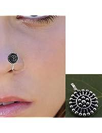 Pcm Nose Pin Designer Black Oxidised Silver Nose Pin for Girls/Women